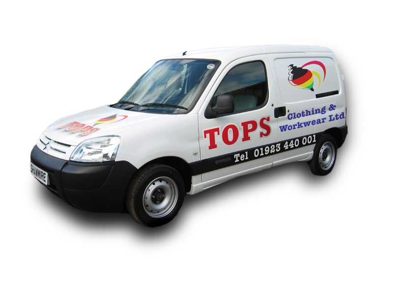 Vehicle Livery Design for Tops Clothing & Workwear Ltd